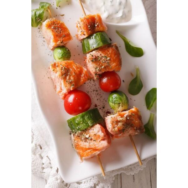 Brochette d'encornets et saumon